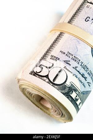 Bandes laminées Wad Cinquante billets d'un Dollar en argent américain