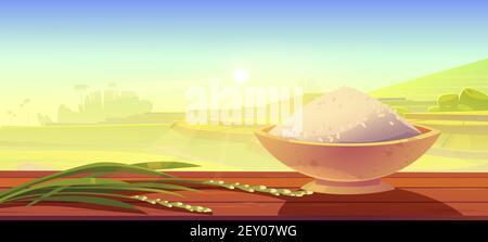 Riz blanc et bol avec céréales sur un bureau en bois sur des terrasses asiatiques de campagne paysage de fond. Plantation de paddy, ferme de cascades avec vue sur les paysages d'herbe verte, illustration vectorielle de dessin animé