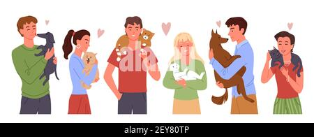Les gens aiment leurs propres animaux ensemble, jeune homme heureux femme jouant, embrassant des amis animaux domestiques