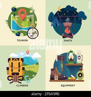 Quatre carrés icône de camping avec descriptions de snack touristique illustration de l'escalade et de l'équipement