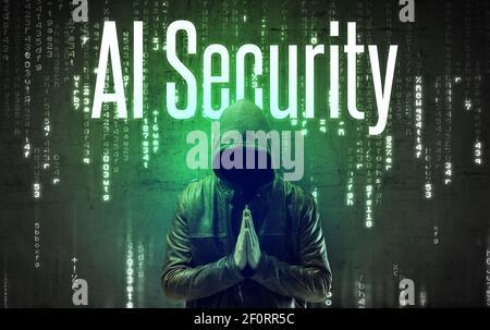 Pirate sans visage avec inscription ai Security, concept de piratage