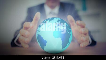 Image numérique composite de la section médiane du globe d'homme d'affaires