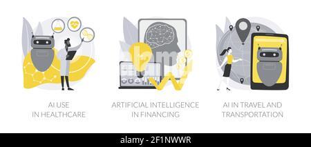 L'apprentissage machine dans les illustrations vectorielles abstraites de l'industrie. Banque D'Images
