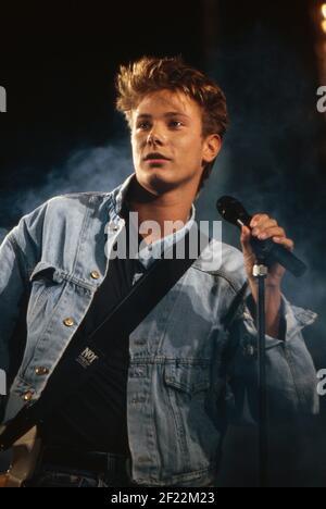 Prominenz auf der IFA à Berlin, Deutschland 1989, hier: Musiker Fabian Harloff