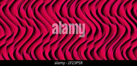 Motif ondulé rouge violet vif. Arrière-plan des lignes courbes du volume