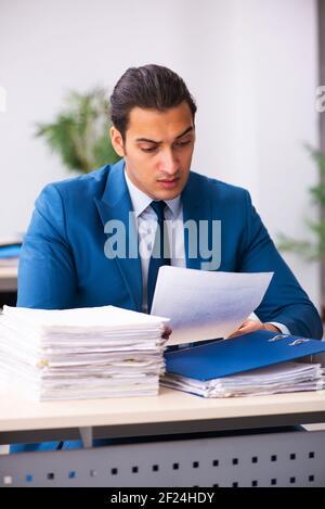 Jeune homme d'affaires employé lisant le contrat dans le bureau Banque D'Images