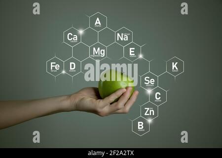 Main de femme tenant une pomme verte, icônes de micro-éléments dans des hexagones moléculaires sur fond gris. Modèle de concept de perte de poids pour la conception du produit.