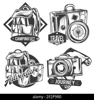 Ensemble d'emblèmes, d'étiquettes, de badges et de logos de voyage vintage. Isolé sur blanc