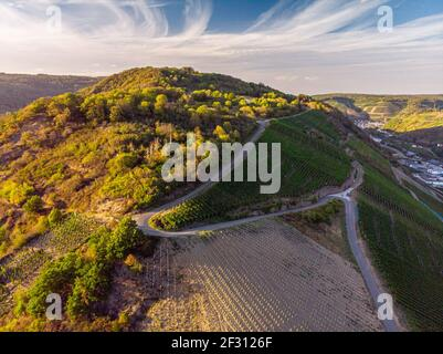 Coucher de soleil sur les vignobles de la vallée de l'Ahr, vue aérienne Banque D'Images