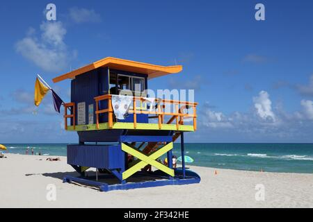 Géographie / Voyage, Etats-Unis, Floride, Miami Beach, Baywatch station (Life Guard petite maison), Miami Beach, Additional-Rights-Clearance-Info-not-available