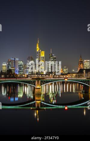 Géographie / voyage, Allemagne, Hesse, horizon, Ignaz-Bubis-Bruecke, Quartier des banques, Francfort-sur-le-Mai, Freedom-of-Panorama