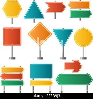 Panneaux de signalisation. Trafic autoroute itinéraire signalisation routière illustrations vectorielles