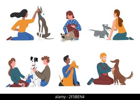 Des gens heureux avec des amis de chien d'animal de compagnie ensemble, jeune homme femme personnage assis, s'embrassant doggy