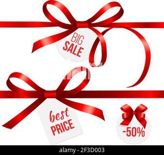 Rubans rouges. Noeuds en ruban de soie avec étiquettes de solde. Badges vectoriels de réduction Noël pour les fêtes du nouvel an Banque D'Images