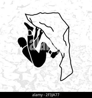 Illustration du vecteur Mountain Climber. Silhouette noire. Badge d'escalade. SPE 10