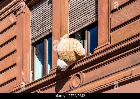 Grand ours en peluche solitaire qui regarde par la fenêtre