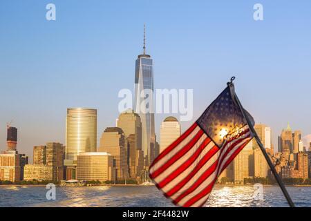 Géographie / voyage, Etats-Unis, New York, New York, Manhattan, Parc de batteries City avec un WTC, droits supplémentaires-autorisation-Info-non-disponible