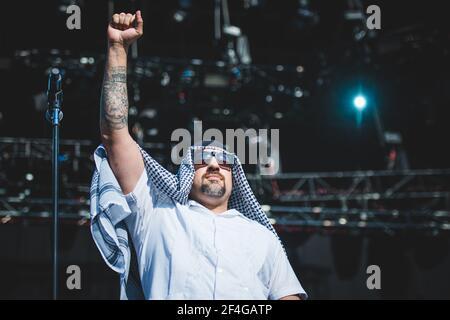 ITALIE, FIRENZE 2017: B-Real, rappeur/chanteur du super groupe américain de rap/rock prophètes de rage (composé de membres de rage contre la machine, Cypress Hill et public Enemy), en direct sur scène.