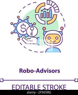 Icône de concept de robo-conseillers Banque D'Images