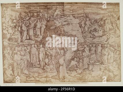 Domenico Beccafumi: Moïse reçoit les conseils d'administration, détail du sol dans la cathédrale de Sienne. .
