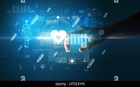 Médecin dispositif de santé futuriste avec symbole médical sur la main écran
