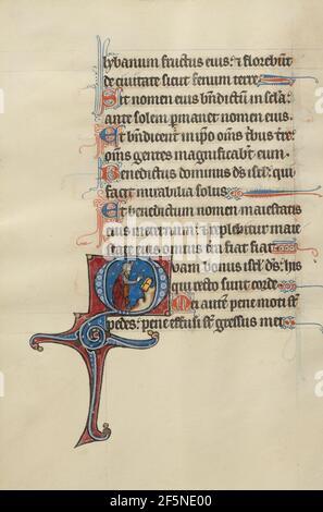 Initial O: Moïse brisant les tablettes de la Loi. Bute Master (franco-flamand, actif vers 1260 - 1290)