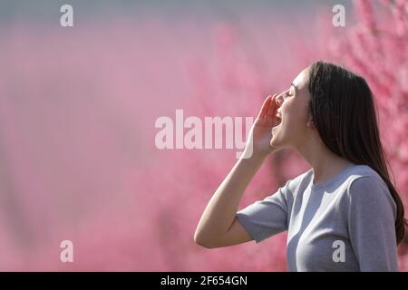 Profil d'une femme heureuse criant dans un champ dans saison de printemps