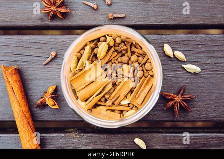 Divers ingrédients du thé de chai faits maison dans un pot en verre, vue sur la pose à plat. Gousses de cardamome vertes, bâtonnets de cannelle, clous de girofle, anis étoilé. Vue ci-dessus.