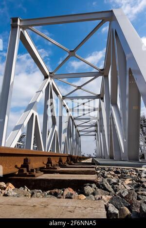 Un gros plan sur des rails et un pont ferroviaire. Perspective photo prise par un jour ensoleillé.