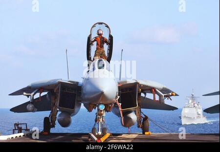 En mer à bord de l'USS Theodore Roosevelt (CVN 71) le 24 janvier 2002 -- UN capitaine d'avion des 'Diamondbacks' du Fighter Squadron One Zero Two (VF-102)