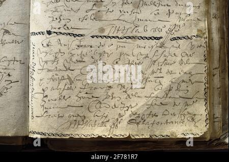 France, Aisne, Château-Thierry, Musée Jean de la Fontaine - ville de Château-Thierry, certificat de baptême original du poète, ensuite annoté dans la marge Jean Delafontaine poete fête