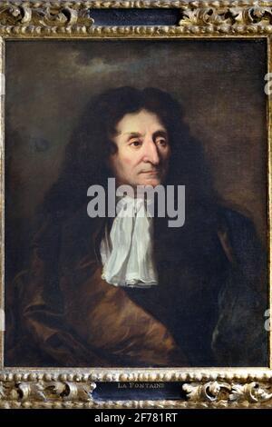 France, Aisne, Château-Thierry, Musée Jean de la Fontaine - ville de Château-Thierry, portrait du poète peint vers 1680 par Hyacinthe Rigaud exposé dans la salle du XVIIe siècle