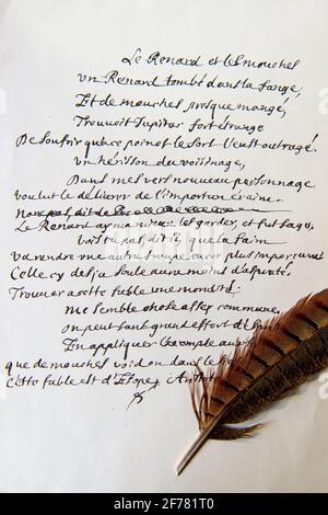France, Aisne, Château-Thierry, Musée Jean de la Fontaine - ville de Château-Thierry, projet de la Fable le renard, les mouches et le hérisson écrit en plume par la main de Jean de la Fontaine (fax)