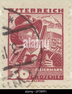 Timbre de Gösta Bodman de la philatéliste cession, a commencé en 1950.le timbre de l'Autriche, Styrie.