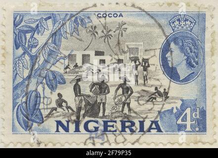 Timbre du poste de philatéliste de Gösta Bodman, commencé en 1950.le timbre du Nigeria, 1953. Motifs de la récolte de cacao.