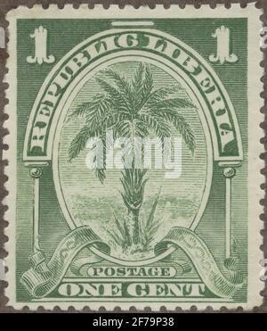 Timbre du poste de philatéliste de Gösta Bodman, commencé en 1950.le timbre du Libéria, 1900. Motions de DadelPalm.