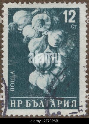 Timbre de la cession de la philatéliste de Gösta Bodman, commencé 1950.le timbre de Bulgarie, 1958. Motifs d'ail. 'Légumineuses'.