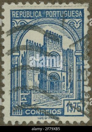 Timbre du poste de philatéliste de Gösta Bodman, commencé en 1950.le timbre du Portugal. Mouvements de la cathédrale de Coimbra.