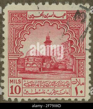 Timbre du poste de philatéliste de Gösta Bodman, commencé en 1950.le timbre de l'Irak, (U.Å). Motions de mosquée.