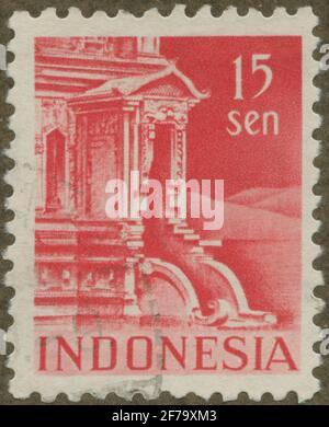 Timbre du poste de philatéliste de Gösta Bodman, commencé en 1950.le timbre de l'Indonésie, 1949. Motifs du bâtiment du temple.