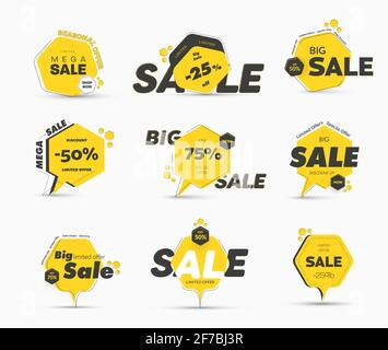 Jeu de balises jaunes vectorielles en forme d'hexagone avec un trait fin, pour une grande vente. Modèles de bannières avec un pourcentage de remise. Banque D'Images