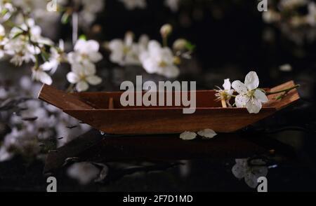 Encore la vie avec le bateau décoratif en bois