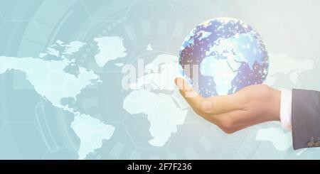 Globe entre les mains des hommes d'affaires, technologie abstraite, concept de réseau social.