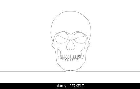 Mise en plan continue d'une ligne. Crâne humain abstrait. Illustration