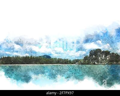 Forme abstraite colorée sur la montagne et la mer sur aquarelle illustration peinture arrière-plan.