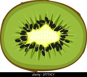 Icône kiwi. Une source de vitamine C. des fruits exotiques sains avec des graines. Délicieux en-cas ou dessert.