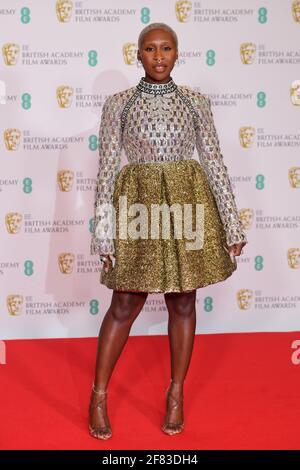 Cynthia Erivo arrive pour les prix du film EE BAFTA au Royal Albert Hall de Londres. Date de la photo: Dimanche 11 avril 2021.