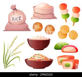 Riz en sac et bol, farine en sac, oreille de grain et nourriture traditionnelle japonaise. Ensemble de dessins animés vectoriels avec sushi, nouilles de riz, chips, dango, galettes et mochi isolés sur fond blanc