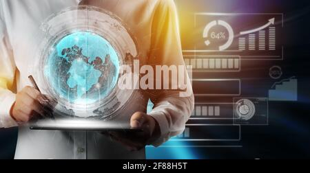 Le réseau moderne de télécommunications créatives et d'Internet se connectent dans la ville intelligente. Concept de connexion numérique sans fil 5G et Internet des objets