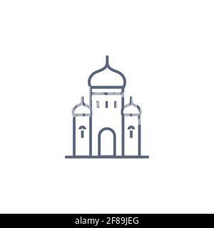 Icône de la ligne de l'église - chapelle orthodoxe simple pictogramme linéaire sur fond blanc. Illustration vectorielle